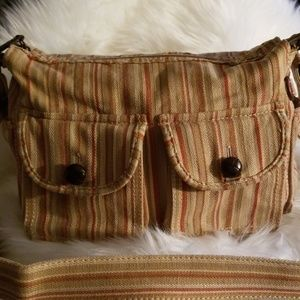 Vintage Fossil Striped Canvas Leather Detail Purse